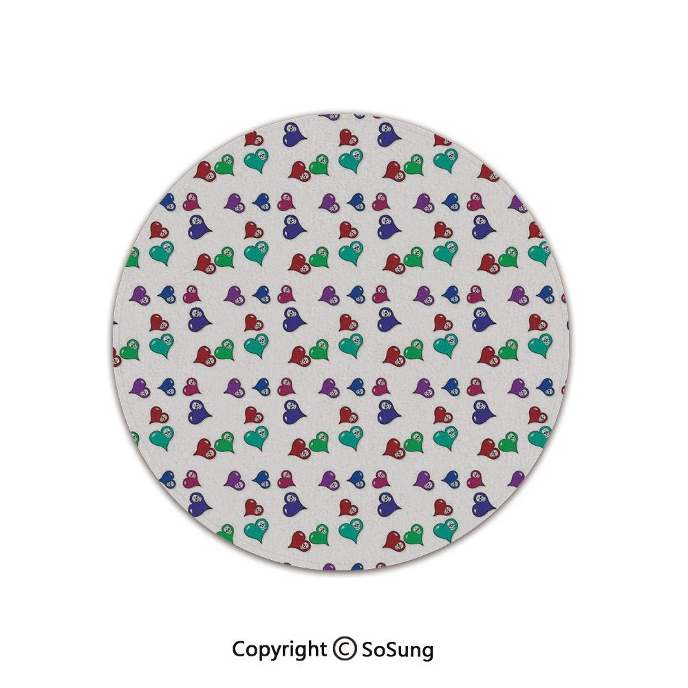 Skulls Decorations Round Area Rug,Artistic Pattern with Colored Hearts and Skulls,for Living Room Bedroom Dining Room,Round 4'x 4', by SoSung