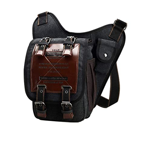 de499f986cd6 Chikencall Mens Boys Vintage Canvas Bags Retro Casual Shoulder Bag Leather  Single Shoulder Cross Body Bag