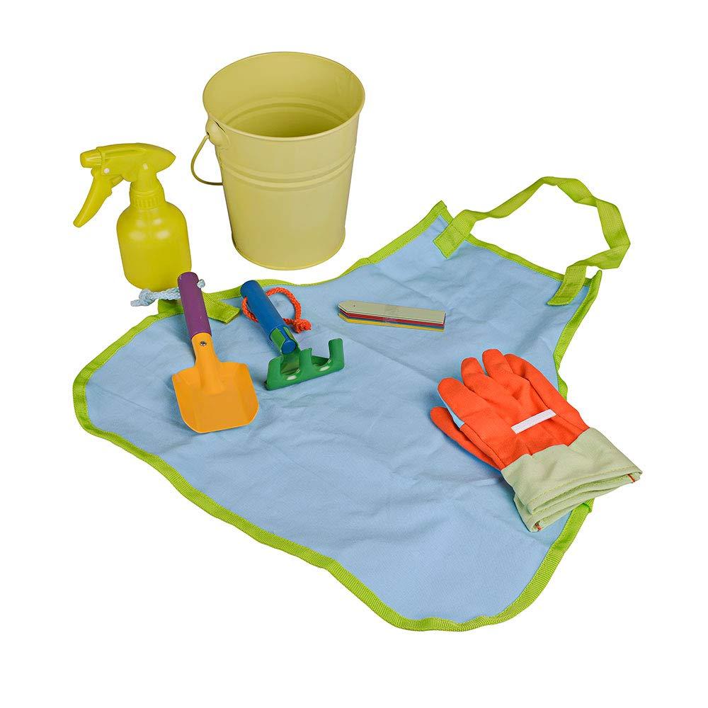 Includes: Child Apron Gloves and Plant Sprayer Lime Green Kids Tin Gardening Bucket Tool Set Trowel Rake 16.5cm