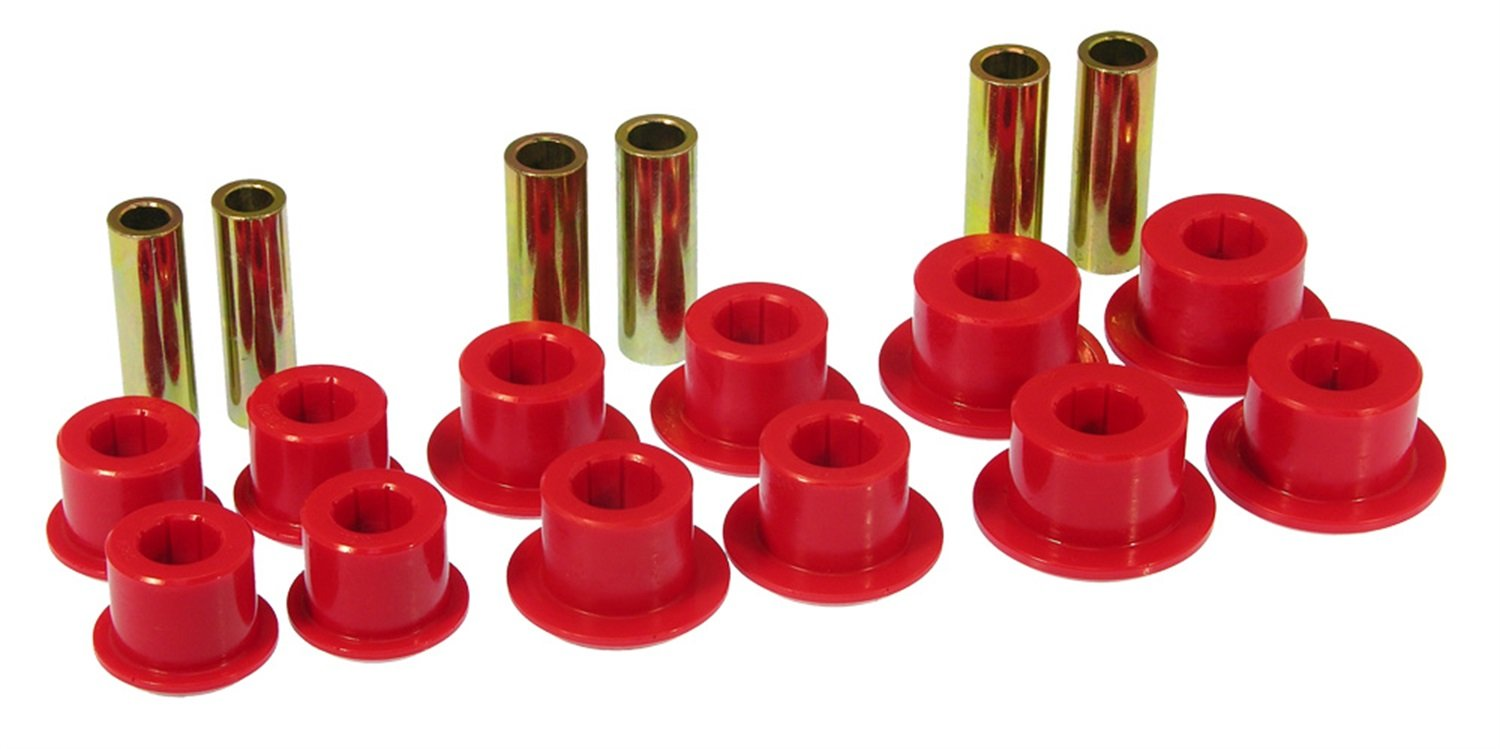Prothane 7-1055 Red Rear Spring Eye and Shackle Bushing Kit by Prothane