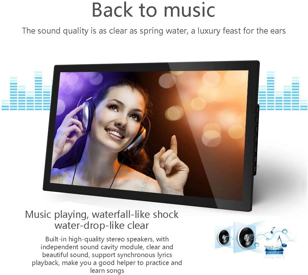 WHJ@ Black Digital Photo Frame 18.5 Inch,1366x768 High Resolution,Can Play Music,LED Backlight,2.5cm Ultra-Narrow Bezel
