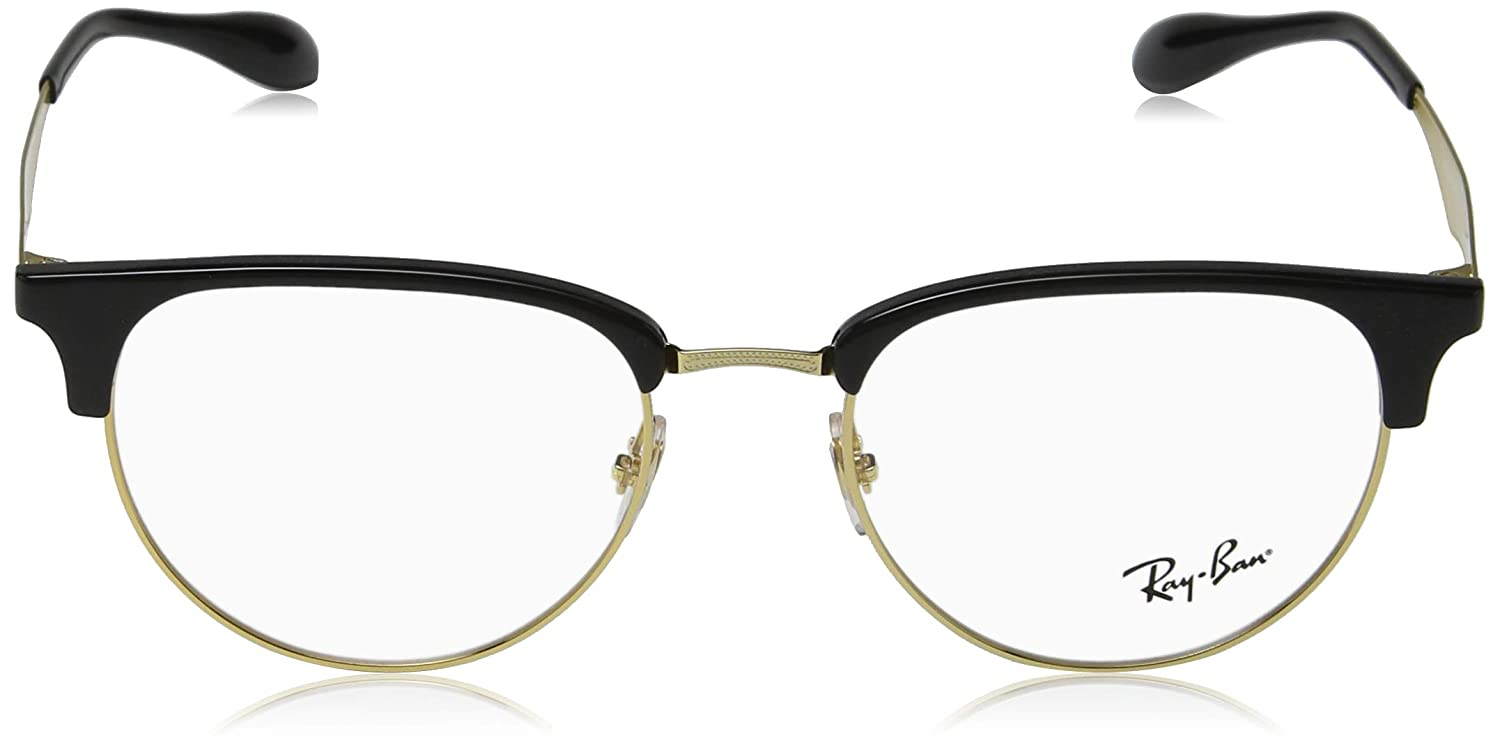 d9e7387c0e Amazon.com  Ray-Ban Men s 0rx6396 No Polarization Square Prescription  Eyewear Frame Black Gold 53 mm  Clothing