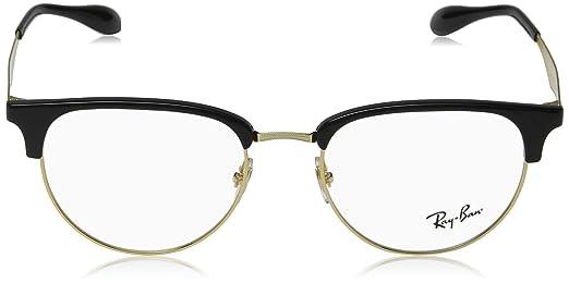 446469f807 Amazon.com  Ray-Ban Men s 0rx6396 No Polarization Square Prescription  Eyewear Frame Black Gold 53 mm  Clothing