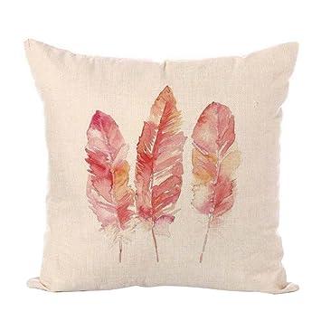 Westeng 1 pcs Funda de cojín de lino Patrón de plumas Funda de almohada Amortiguador Decorativo(con exclusión de almohada)