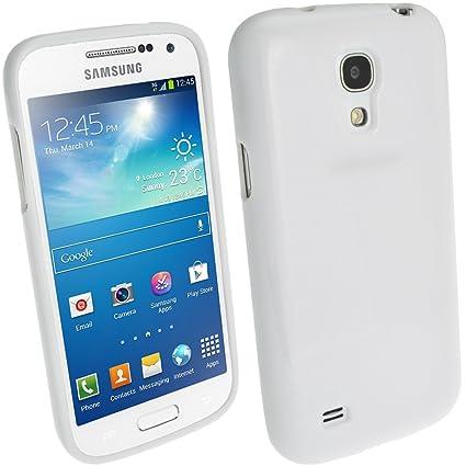 igadgitz Blanco Case TPU Gel Funda Cover Carcasa para Samsung Galaxy S4 SIV Mini I9190 I9195 Android Smartphone + Protector de pantalla