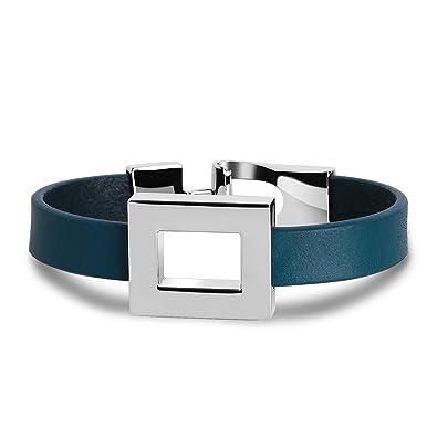 nouveau design grand assortiment nouveaux produits chauds Aienid Bijoux Bracelet Femme Cuir Large Carré Bleu Bracelet ...