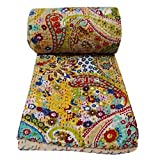 Traditional India Multicolor Paisley Print Twin Size Kantha Quilt, Kantha Bedspread, Home Decorative Kantha Quilts, Room Decor Throw 60x90''