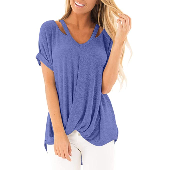 Geilisungren Camisetas Mujer Talla Grande Manga Corta Blusas para Mujer Elegantes Fiesta Verano Sencillo Pullover Cuello