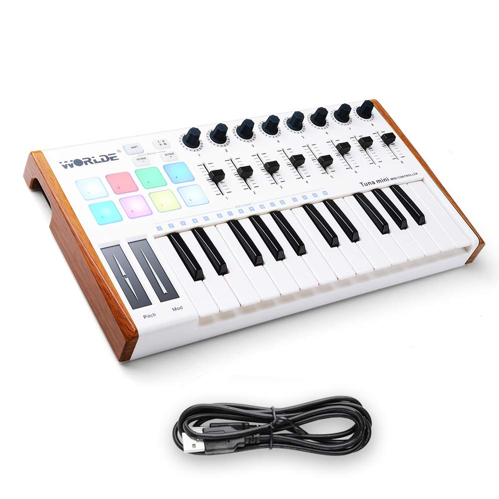 Worlde 25 Key USB Portable Tuna Mini MIDI Keyboard MIDI Controller with 8 Knobs, 8 Drum Pads, 8 Faders, Wood Imitation Rim, Pedal Interface, for Mac and PC Vangoa