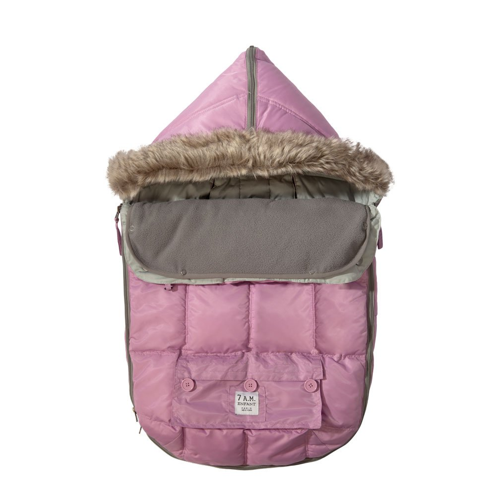 7AM Enfant ''Le Sac Igloo'' Footmuff, Converts into a Single Panel Stroller and Car Seat Cover - Pink, Medium