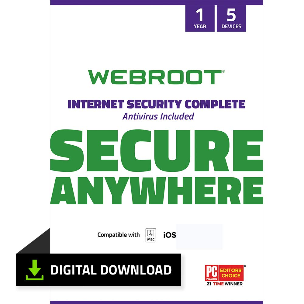 Webroot Internet Security Complete with Antivirus Protection – 2019 Software | 5 Device | 1 Year Subscription | Mac Download