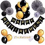 Happy Retirement Banner Party Decoration Kit,Retirement Sash,Gold And Black Balloons For Retirement Party Supplies Gifts