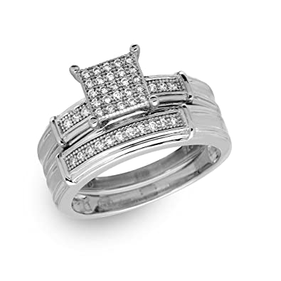 clear cubic zirconia pave square center set of two ring rhodium