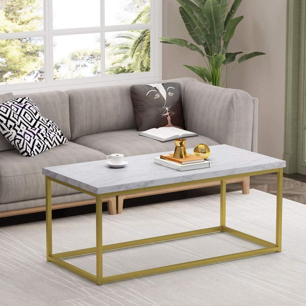 90x90x48cm Tribesigns Table Basse Ronde,Table De Salon Moderne Blanche Marbre Table de Canap/é dor Pattes en m/étal