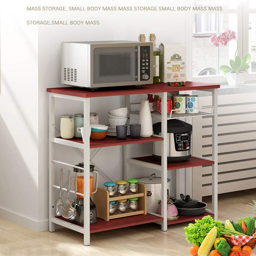 3-Tier Baker's Rack, Microwave Cart Oven Stand with 3 Hanging Hooks & Spice Rack for Kitchen Storage, Steel Plate Type, Wine Amiley 【Ship from USA】 (Wine) by Amiley Kitchen Rack (Image #5)