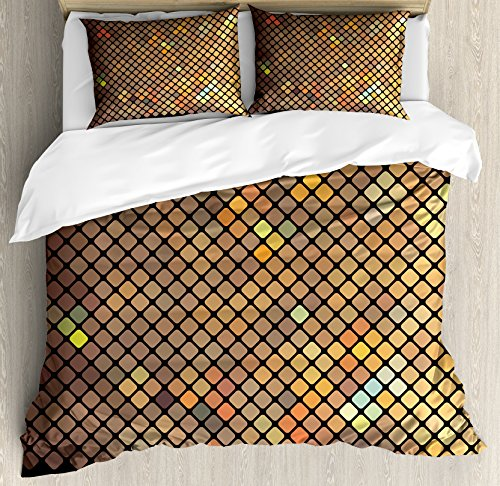 Earth Duvet Cover Set (Earth Tones Duvet Cover Set Queen Size by Ambesonne, Vibrant Mosaic of Diagonal Squares with a Black Finish Celebration Event Theme, Decorative 3 Piece Bedding Set with 2 Pillow Shams, Multicolor)