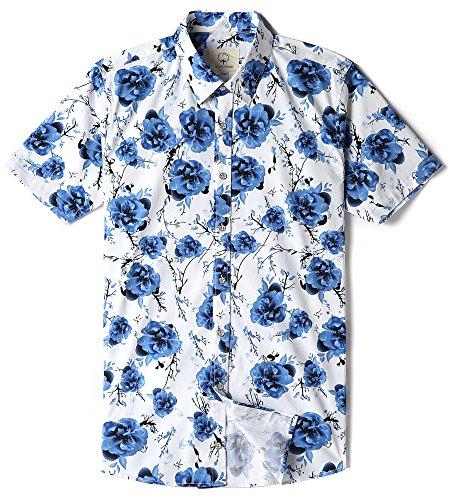 MOCOTONO Mens Snug Fit Floral Hawaiian Button Down Casual Shirt