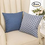Decorative Pillow Cover - Set of 2 Home Brilliant Linen Cushion Cover Dots and Checkers Woven Textured Nautical Lined Square Decorative Toss Throw Pillow Covers Pillowcases for Chair/ Bed Linen, 18inch (45cm), White/Navy Blue