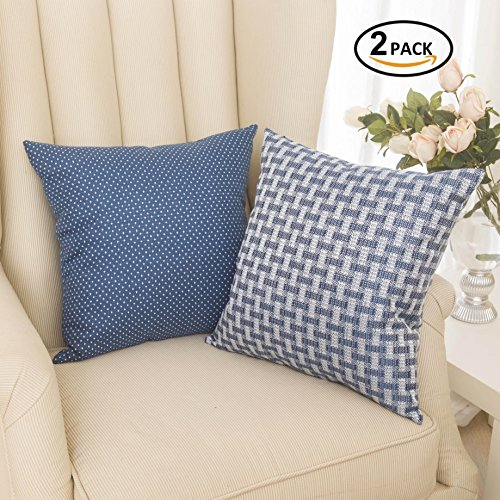 Set of 2 Home Brilliant Linen Cushion Cover Dots and Checkers Woven Textured Nautical Lined Square Decorative Toss Throw Pillow Covers Pillowcases for Chair/ Bed Linen, 18inch (45cm), White/Navy (Navy Blue Toss Pillow)