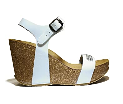 d0c5dd43bb ONYX FASCIA SHOES WEDGE SANDALS, HIGH HEEL, NEW COLLECTION SPRING SUMMER  2016 LEATHER WHITE: Amazon.co.uk: Shoes & Bags