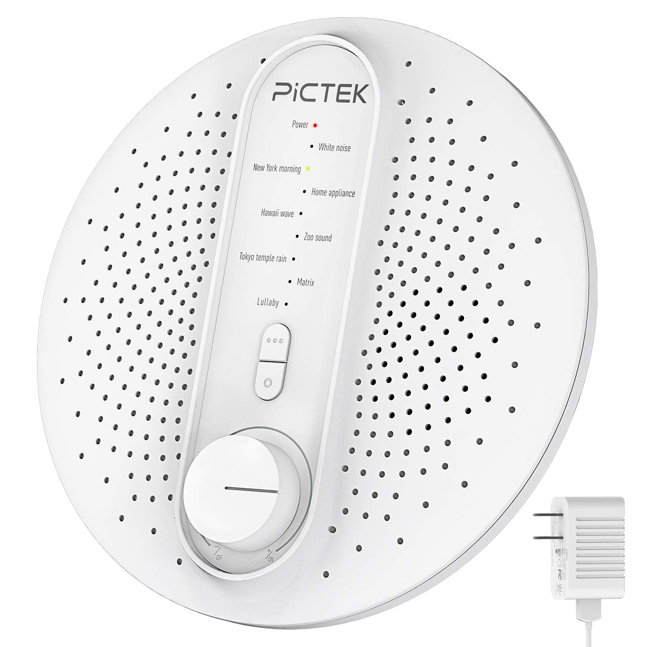 Sound Machine, Pictek White Noise Machine for Baby Adult Sleep All Night Playing, Portable Noise Cancelling Machine [Updated Version] with 24 Non-Looping Nature Sounds Suitable for Home, Office and Travel [With Adapter] YTPTHP007BWUS-CAAA5