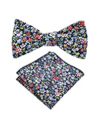 JEMYGINS Cotton Floral Self Tie Bow Tie and Pocket Square Set for Men