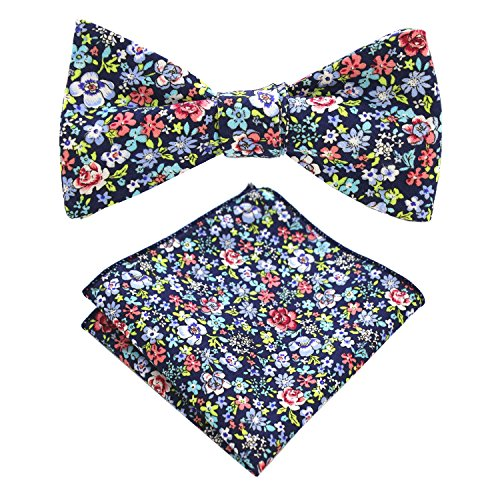 (JEMYGINS Cotton Floral Self Tie Bow Tie and Pocket Square Set for Men (10))