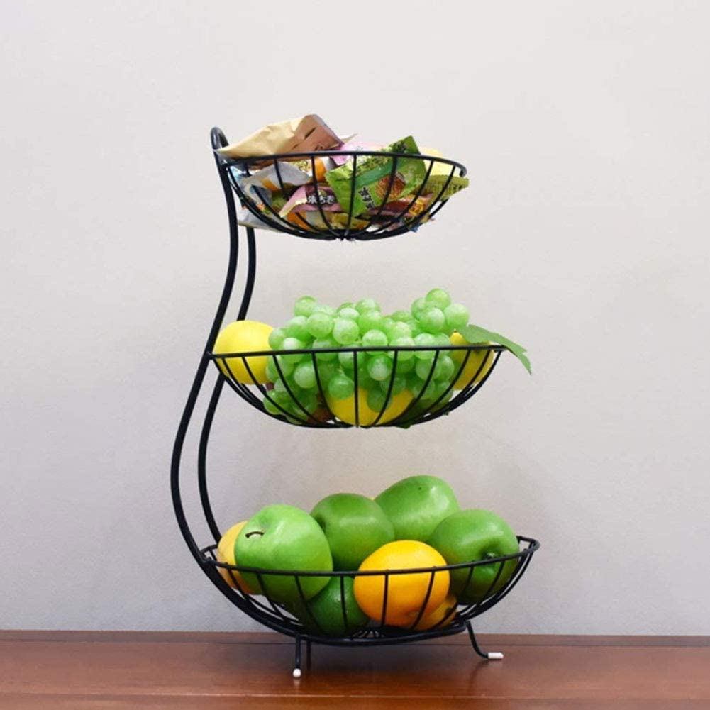 Black Decorative Bowl Stand Household Items Perfect for Fruit Vegetables Snacks YYRZ Countertop Fruit Basket 3 Tier Fruit Basket Metal Fruit Bowl Bread Baskets