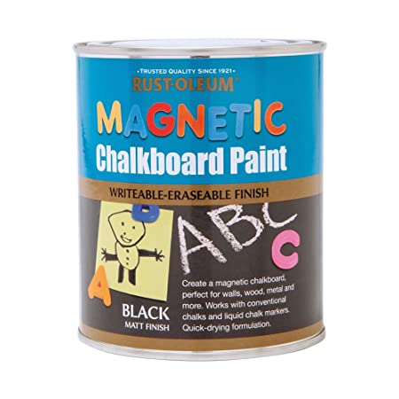 Rust Oleum 750ml Magnetic Chalkboard Paint Black Amazon Co Uk