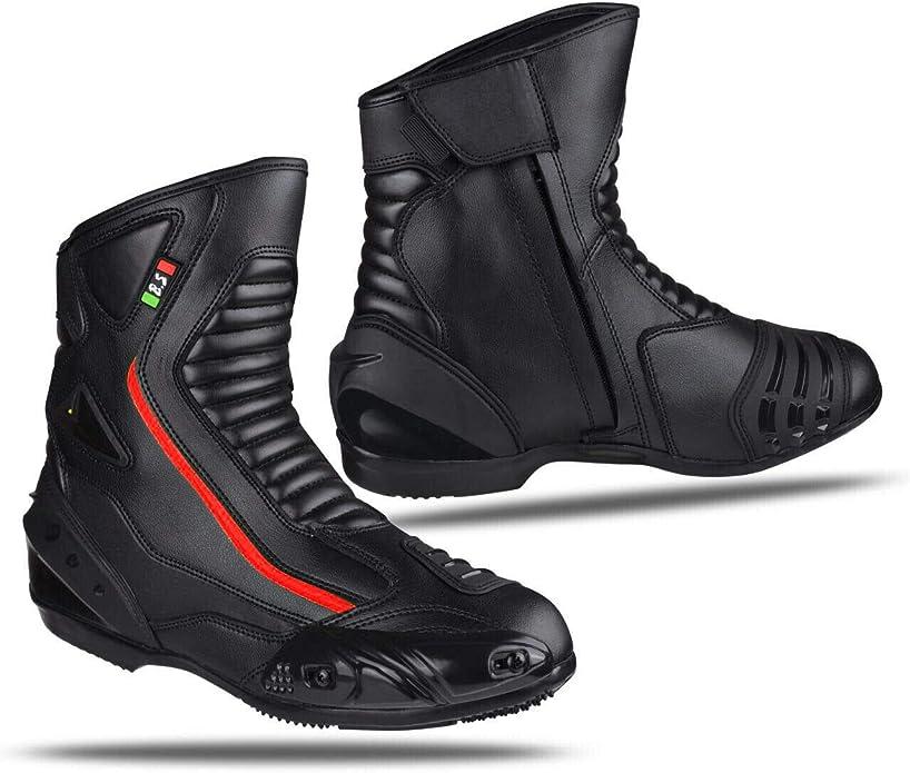 Biesse Motorradstiefel Aus Leder Wasserdicht Atmungsaktiv Motorradschuhe Schwarz Rot 41 Schuhe Handtaschen