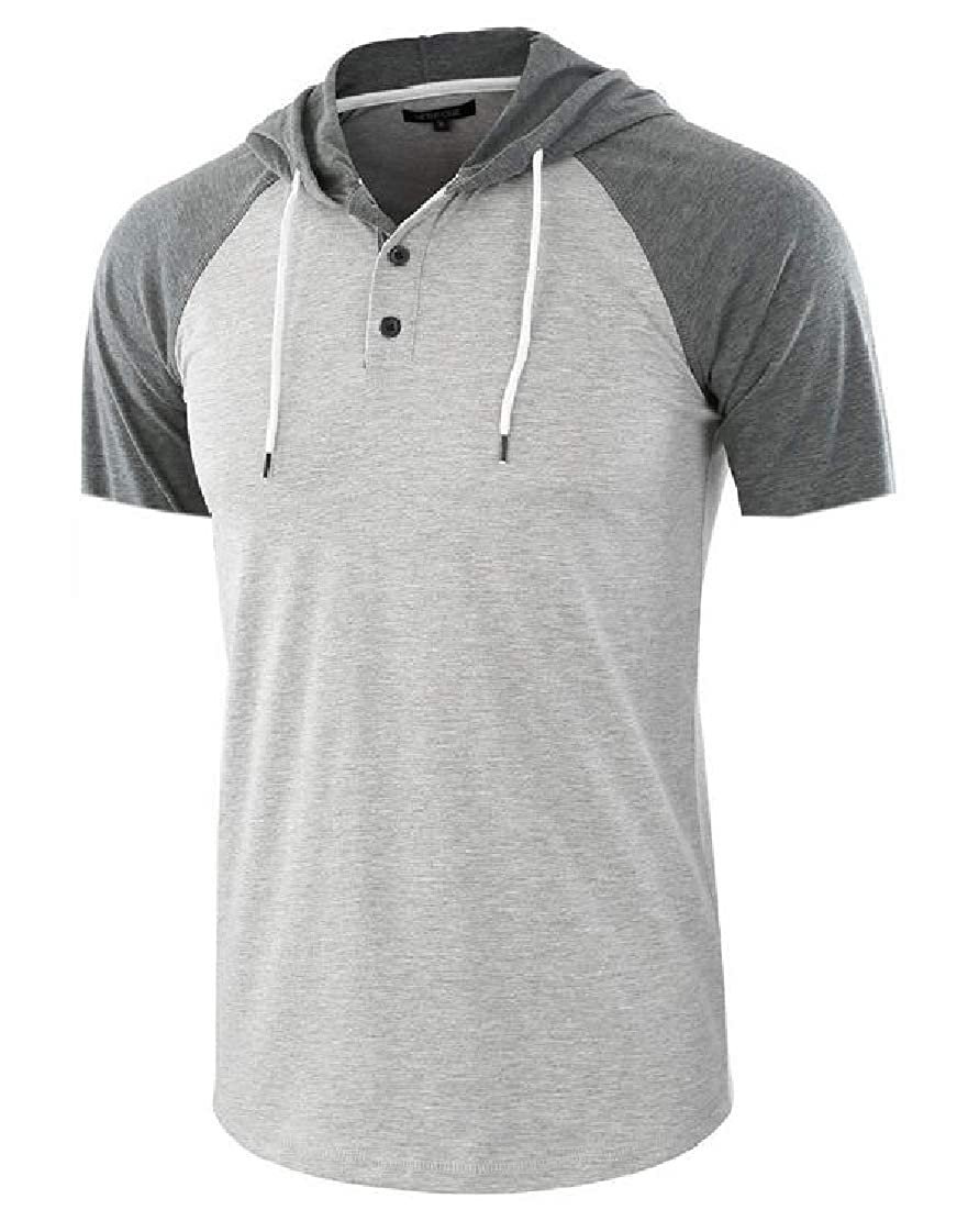 pipigo Mens Short Sleeve Hooded Casual Drawstring Contrast T-Shirt Tee