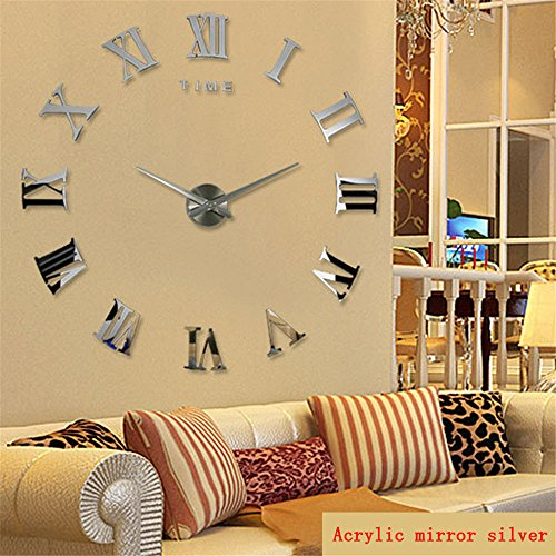 (Imoerjia Living Room 3D DIY Clock Mute Wall Clock Clocks Personalized Creative Watches Stylish Art-Form Silver, Should Be 40-70Cm)