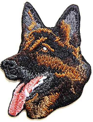 German Shepherd Alsatian Dog Pet Patch Sew Iron on Embroidered Sign Badge Costume Clothing -