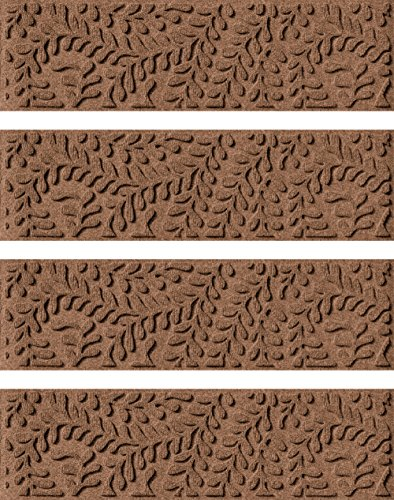 Aqua Shield Boxwood Stair Treads, 8.5 by 30-Inch, Dark Brown, Set of 4 (Outdoor Step Mats Rubber)