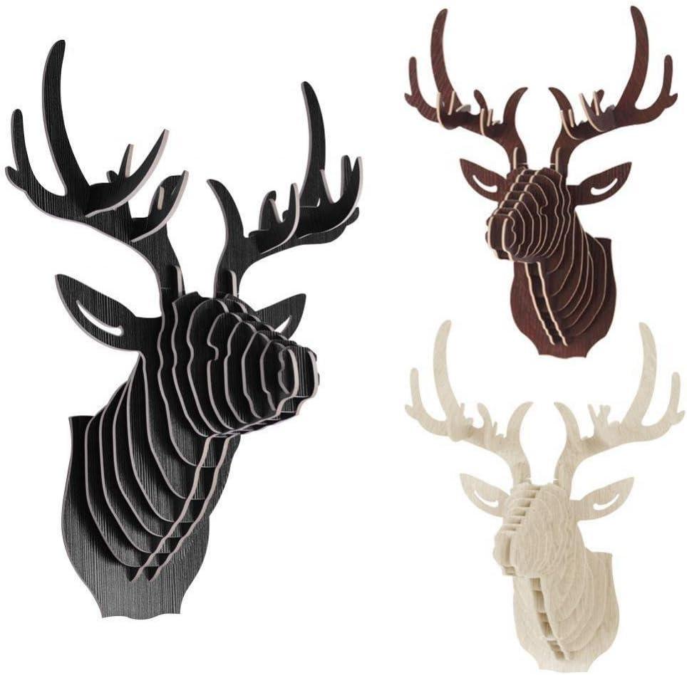 3D Parete Di Legno Modello Di Cervo Animale Appeso Scultura Testa Della Fauna Selvatica Decorazione Nero