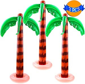 LOCOLO 3-Pack Inflatable Palm Trees Portable Jumbo Coconut Trees for Tropical Party Hawaiian Luau Pool Decor Beach Backdrop Cool Decoration 35 Inches