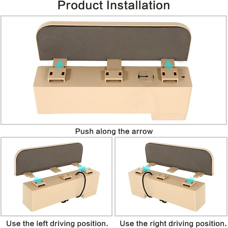Brown AKAHA Car Seat Side Pocket Car Gap Filler for Cellphones,Keys,Cards,Wallets,Coins Built-in Wireless Charging with Coin Organizer Car Seat Organizer
