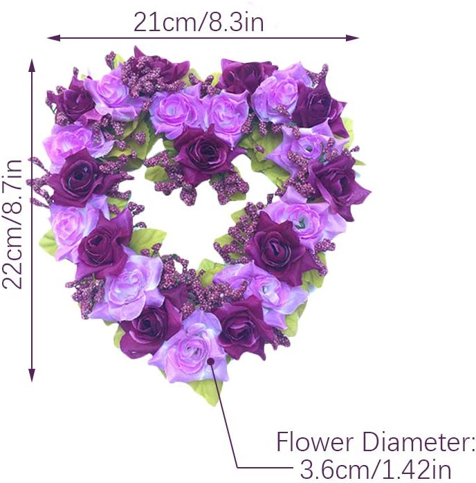 Sobotoo Couronne de Roses artificielles en Forme de c/œur pour Porte dentr/ée