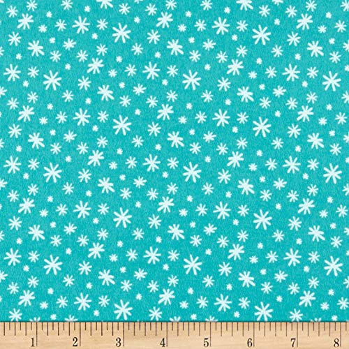 Flannel Northcott Fabric (Northcott Yeti For Winter Snowflakes Flannel Fabric, Dark Turquoise, Fabric By The Yard)