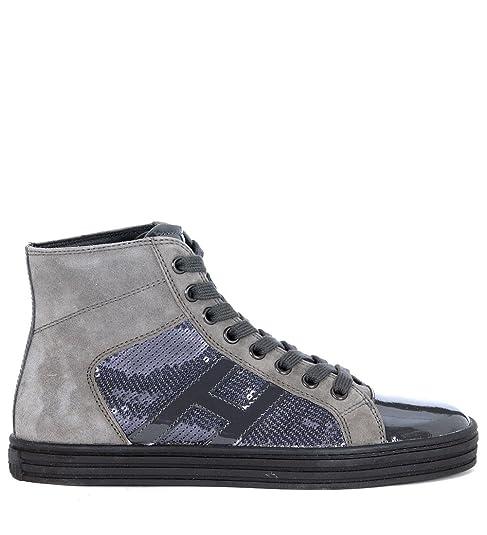 Hogan Sneakers alte Scamosciate Paillettes Grigio Scarpe