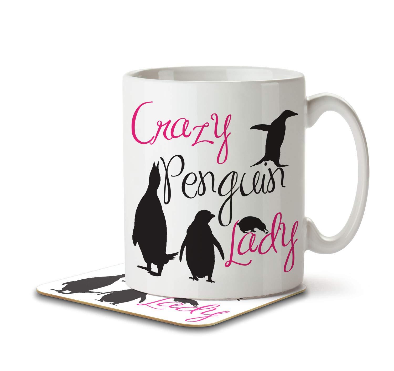 Crazy Penguin Lady Mug and Coaster by Inky Penguin