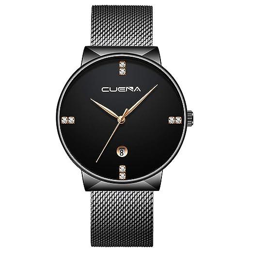 Dylung Reloj de Hombre Mujer Elegante Relojes para Hombres de Moda Reloj de Pulsera Unisex Analógico Cuarzo de Acero Inoxidable del Estilo de Malla Lujo ...