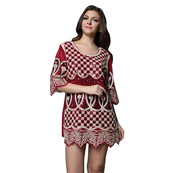 Amazon 1920s Gatsby Dress Red Floral Pattern Long Sleeve