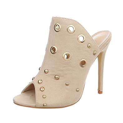 981a24cf737df4 Ital-Design Pantoletten Damen-Schuhe Pfennig- Stilettoabsatz High Heels  Sandalen   Sandaletten
