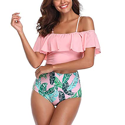 68245a4ce5 Image Unavailable. Image not available for. Color  Lywey Women Two Pieces  Ruffled with High Waisted Bottom + for Summer Beach Sunbath Bathing Suits