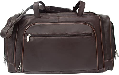Piel Leather Multi-Compartment Duffel Bag, Chocolate, One Size