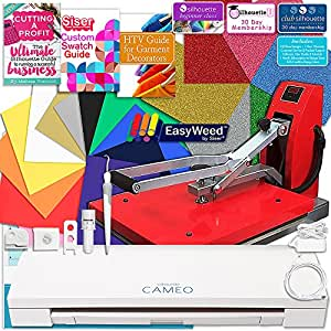 Silhouette Cameo 3 Bluetooth Heat Press T-Shirt Business Bundle with Heat Press, Siser Vinyl, Swatch Book, Guides, Class, Membership and More