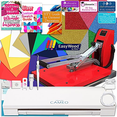 Silhouette Cameo 3 Bluetooth Heat Press T-Shirt Business Bundle with 11x15 Heat Press, Siser Vinyl, Swatch Book, Guides, Class, Membership and More by Silhouette