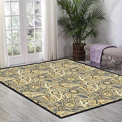 Earth Tones Floor Rug Iranian Pattern Based on Traditional Asian Paisley Welsh Pears for Various Areas 47.24 Inch x 70.86 Inch Sand Brown Black Beige
