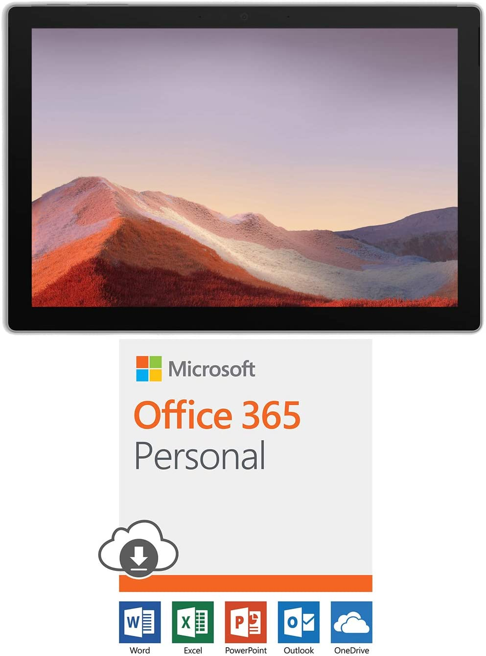 Microsoft QWU-00001 Surface Pro 7 12.3 inch Touch Intel i5-1035G4 8GB/128GB Platinum Bundle Office 365 Personal 1-Year Subscription for 1 Person